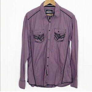Buckle Black Tailored Stretch Shirt Men's Sz L